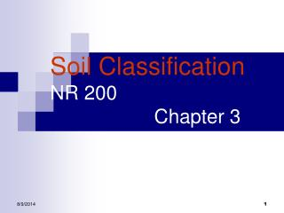 Soil Classification NR 200                     Chapter 3