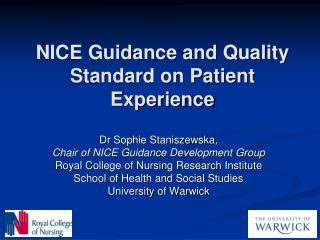 NICE Guidance and Quality Standard on Patient Experience