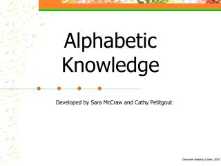 Alphabetic Knowledge