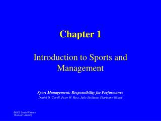 Chapter 1 Introduction to Sports and Management