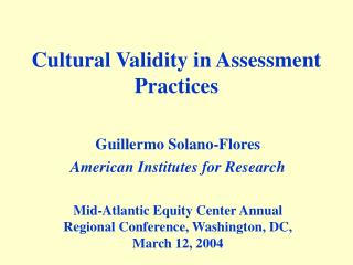 Cultural Validity in Assessment Practices