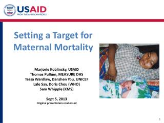 Setting a Target for  M aternal Mortality