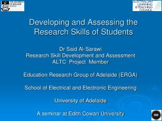 Developing and Assessing the Research Skills of Students