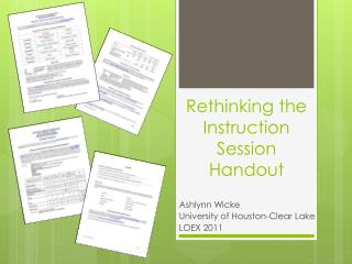 Rethinking the Instruction Session Handout