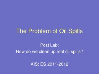 The Problem of Oil Spills