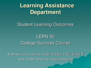 Learning Assistance Department