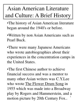 Asian American Literature and Culture: A Brief History