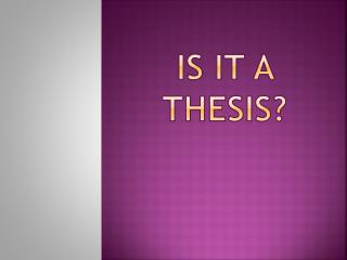 Is it a thesis?