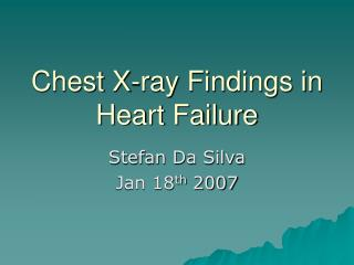 Chest X-ray Findings in Heart Failure