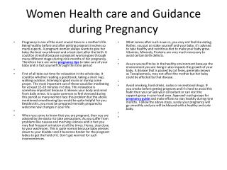 Women Health care and Guidance during Pregnancy