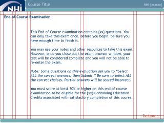 End-of-Course Examination
