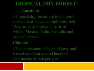 Tropical Dry Forest!