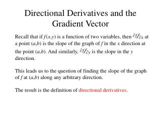 Directional Derivatives and the Gradient Vector