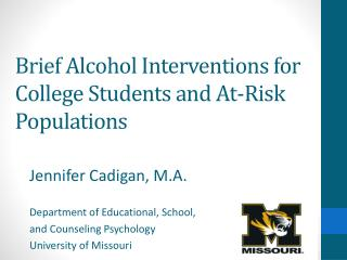 Brief Alcohol Interventions for College Students and At-Risk Populations