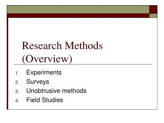 Research Methods (Overview)