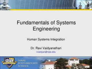 Fundamentals of Systems Engineering