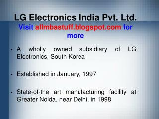LG Electronics India Pvt. Ltd. Visit  allmbastuff.blogspot  for more