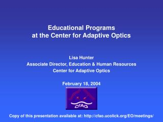 Educational Programs at the Center for Adaptive Optics