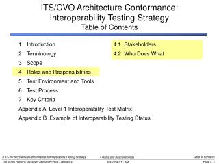 ITS/CVO Architecture Conformance: Interoperability Testing Strategy Table of Contents