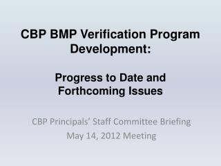 CBP BMP Verification Program Development:  Progress to Date and  Forthcoming Issues