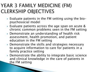 YEAR 3 FAMILY MEDICINE (FM) CLERKSHIP OBJECTIVES