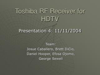 Toshiba RF Receiver for HDTV