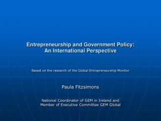 Entrepreneurship and Government Policy:  An International Perspective