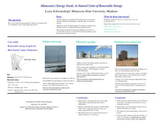 Minnesota s Energy Needs, in Natural Units of Renewable Energy Louis Schwartzkopf, Minnesota State University, Mankato