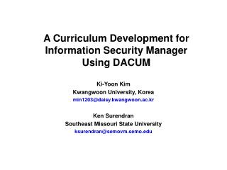 A Curriculum Development for Information Security Manager  Using DACUM