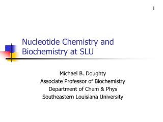 Nucleotide Chemistry and Biochemistry at SLU