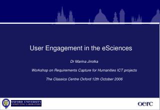 User Engagement in the eSciences