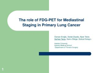 Tha role of FDG-PET for Mediastinal Staging in Primary Lung Cancer