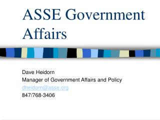 ASSE Government Affairs
