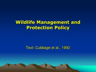 Wildlife Management and Protection Policy