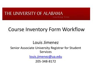 Course Inventory Form Workflow