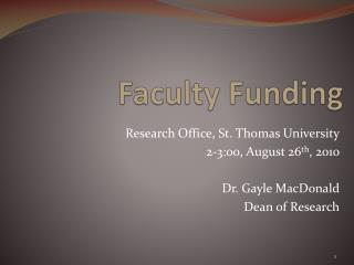 Faculty Funding