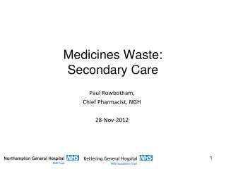 Medicines Waste: Secondary Care
