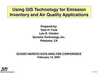 Using GIS Technology for Emission Inventory and Air Quality Applications