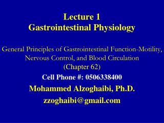 Lecture 1 Gastrointestinal Physiology
