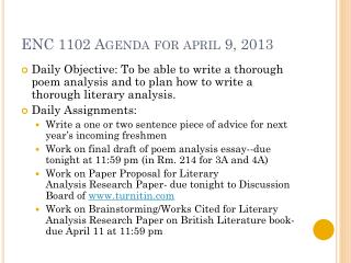 ENC 1102 Agenda for  april  9, 2013