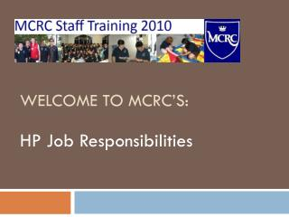 Welcome to MCRC's: