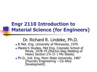 Engr 2110 Introduction to Material Science (for Engineers)