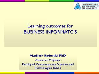 Learning outcomes for BUSINESS INFORMATCIS