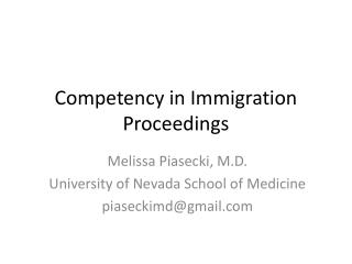 Competency in Immigration Proceedings