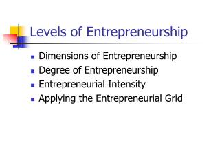 Levels of Entrepreneurship