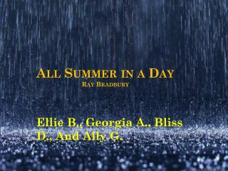 All Summer in a Day  Ray Bradbury