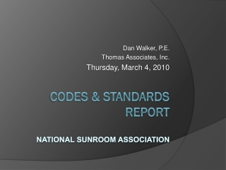 Codes & standards Report National Sunroom Association