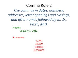 dates January 1, 2012 numbers 1,000 10,000 100,000 1,000,000
