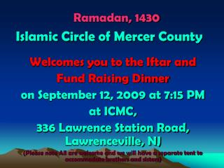 Ramadan, 1430  Islamic Circle of Mercer County
