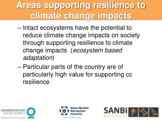 Areas supporting resilience to climate change impacts